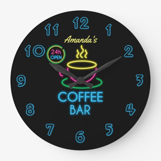 Neon Sign Personalised Coffee Bar Large Clock