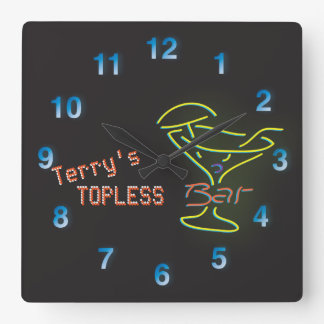 Neon Sign Personalized Mancave Topless Bar Square Wall Clock