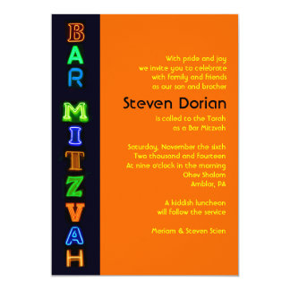 NEON SIGNS Bar Bat Mitzvah Invitation