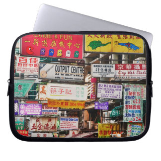 Neon signs in the streets of Hong Kong Laptop Sleeve