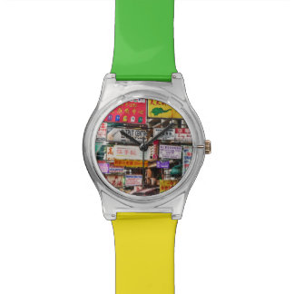 Neon signs in the streets of Hong Kong Wrist Watch