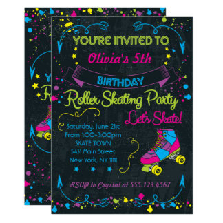 Neon, Skate Party Invitations