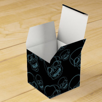 Neon skull on black background party favour boxes