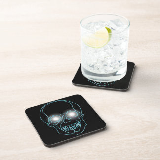 Neon skull with shining eyes design coaster
