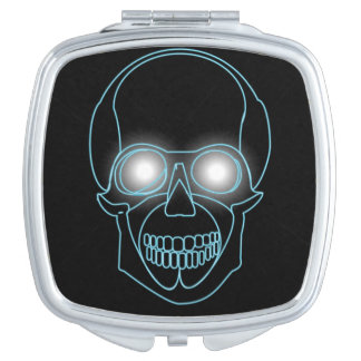 Neon skull with shining eyes design makeup mirrors