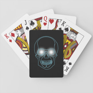 Neon skull with shining eyes design playing cards