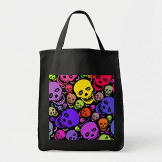 Neon Skulls Grocery Tote Grocery Tote Bag