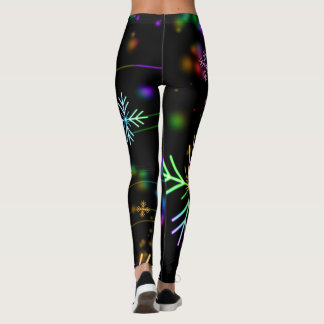 Neon snowflakes pattern leggings