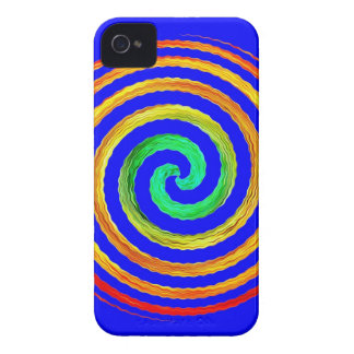 Neon Spiral Blue iPhone 4 Case-Mate Cases
