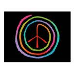 Neon Spiral Peace Symbol II Postcards