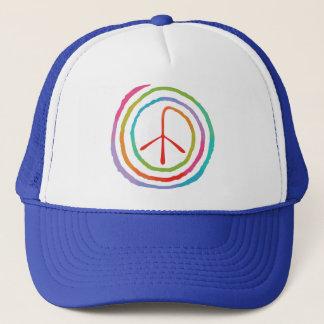 Neon Spiral Peace Symbol II Trucker Hat