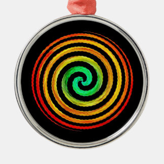 Neon Spiral Silver-Colored Round Decoration