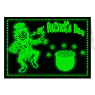 Neon St. Patrick's Day Card with pot of gold Shamr