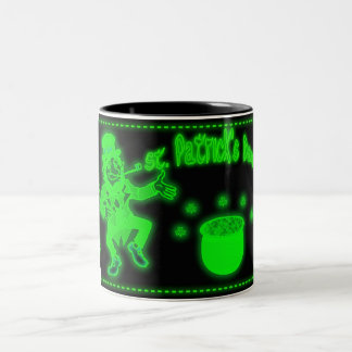Neon St. Patrick's Day mug with pot of gold Shamr