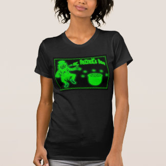 Neon St. Patrick's Day with pot of gold Shamr Tshirt