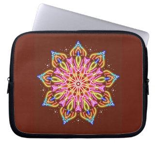 Neon starburst mandala laptop sleeve