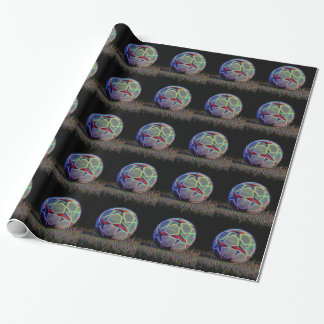 Neon Stars Soccer Ball Wrapping Paper