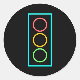 Neon Stoplight Round Stickers