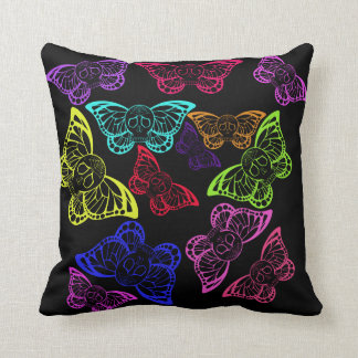 Neon Sugar skull Butterflies Throw Pillow