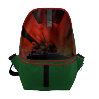 Neon Sunflower Green with Red Trim Messenger Bag