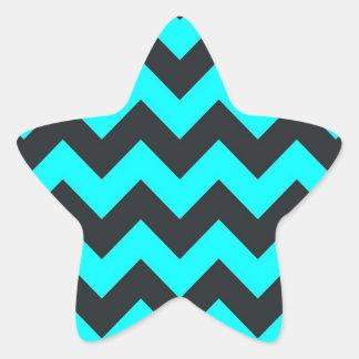 Neon teal blue black chevron pattern star sticker