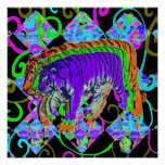 Neon Tiger on Vivid Background Poster
