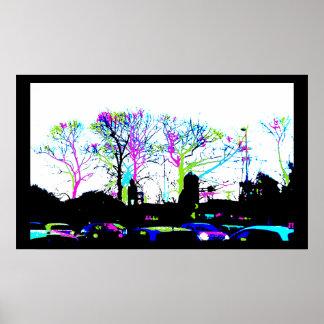 Neon Trees Urban Skyline black border Posters