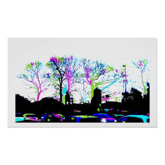Neon Trees Urban Skyline cool original design Poster
