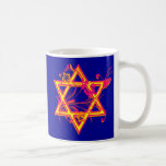 Neon Tropical Hibiscus Star of David Coffee Mugs