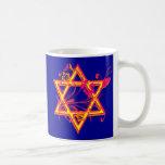 Neon Tropical Hibiscus Star of David Classic White Coffee Mug