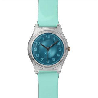 Neon Turquoise custom monogram watches