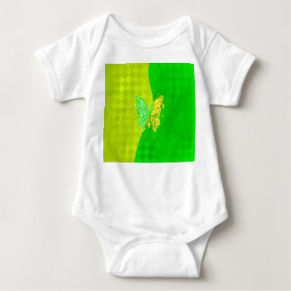 Neon Two Tone Butterfly in yellow and green Baby Bodysuit