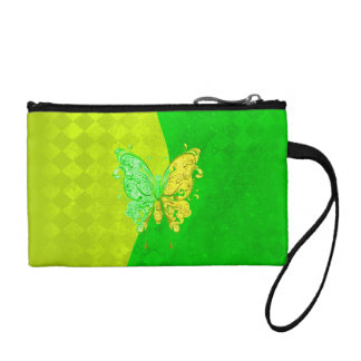 Neon Two Tone Butterfly in yellow and green Coin Wallet