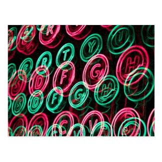 Neon typewriter keys close up postcard