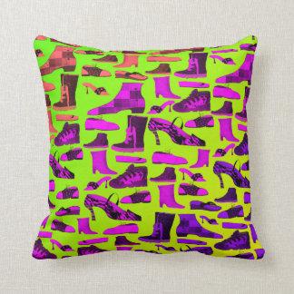 Neon Vibrant Funny Pattern Green Purple Hand Drawn Cushion