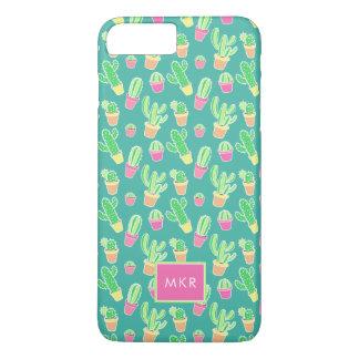 Neon Watercolor Cactus In Pots Pattern iPhone 8 Plus/7 Plus Case