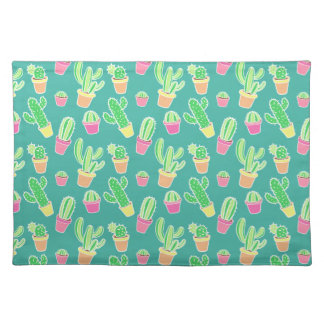 Neon Watercolor Cactus In Pots Pattern Placemat