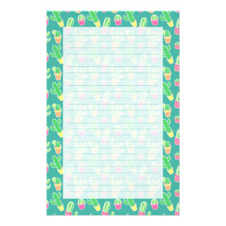 Neon Watercolor Cactus In Pots Pattern Stationery