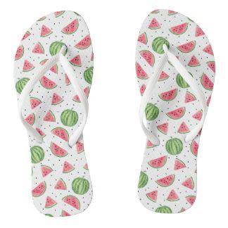 Neon Watercolor Watermelons Pattern Flip Flops