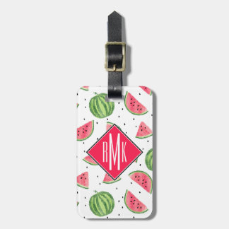 Neon Watercolor Watermelons Pattern Luggage Tag