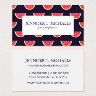 Neon Watermelon on Purple Pattern Business Card