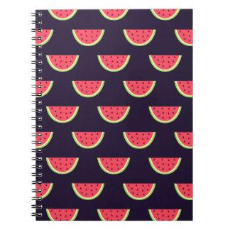 Neon Watermelon on Purple Pattern Notebook