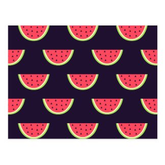 Neon Watermelon on Purple Pattern Postcard