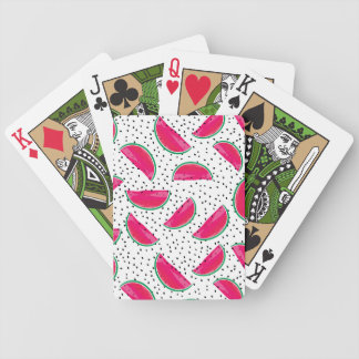 Neon Watermelon on Seeds Pattern Bicycle Playing Cards