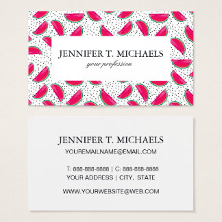 Neon Watermelon on Seeds Pattern Business Card