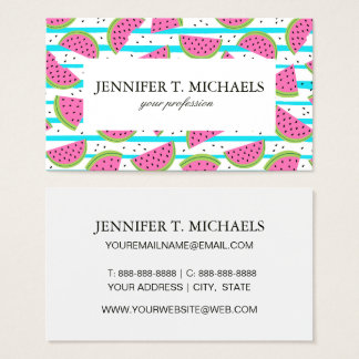Neon Watermelon on Stripes Pattern Business Card