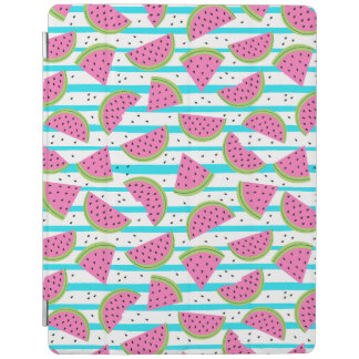Neon Watermelon on Stripes Pattern iPad Cover