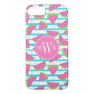 Neon Watermelon on Stripes Pattern iPhone 8/7 Case