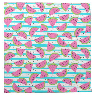 Neon Watermelon on Stripes Pattern Napkin