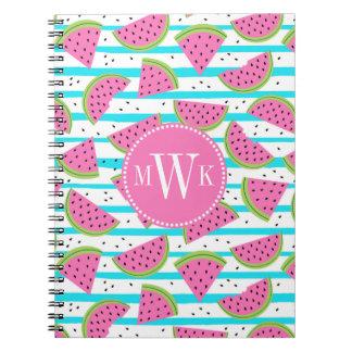 Neon Watermelon on Stripes Pattern Notebook